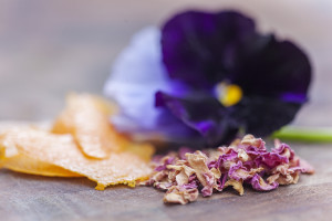 rosehips,orange rind and pansies