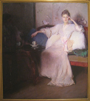 Painting of woman with tea