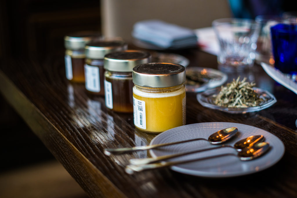 Four different single-flower honey from Marcel & Marie along with three different aged teas from Mansa